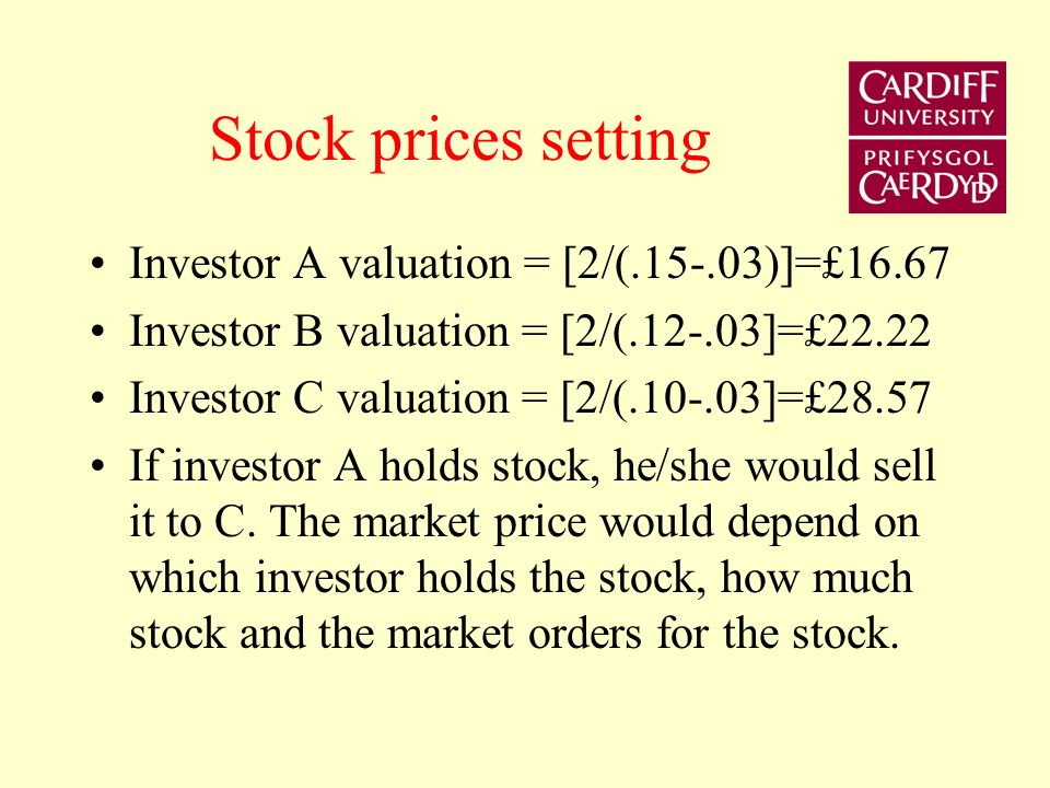 Stock prices setting Investor A valuation = [2/(.15-.03)]=£16.67